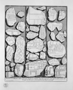 Fragments of the Forma Urbis, in an engraving by Giovanni Battista Piranesi (1756)
