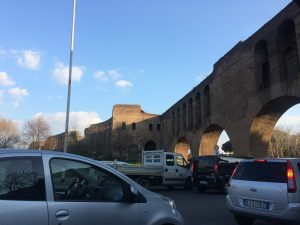 The Aurelian Wall meets the via Cristoforo Colombo