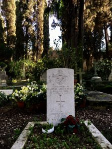 The grave of Sidney Spratt, one of the two airmen killed in a refuelling accident at Centocelle.